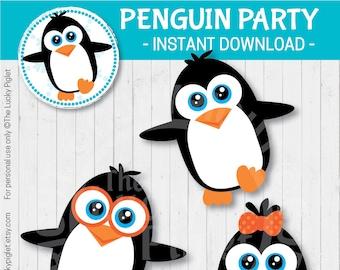 PENGUIN DECORATIONS Penguin Centerpieces Cut Outs Party Printables 6 Tall