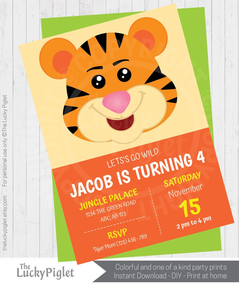 Tiger party invitation, printable tiger birthday invitation, jungle  birthday invite, cute animal invitation, perfect for first birthday
