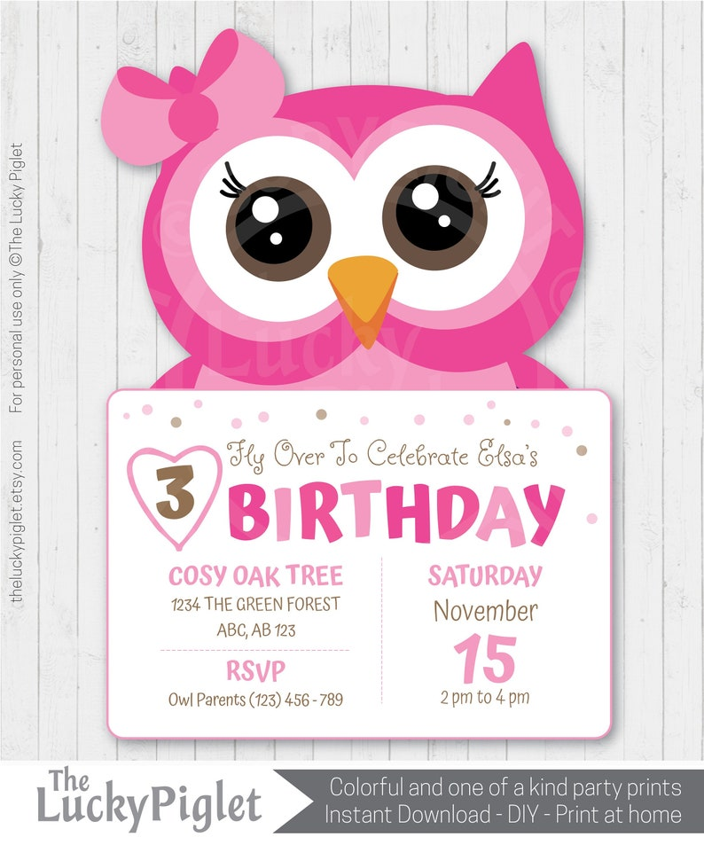 Owl Party Invitations In Pink Printable Theme Birthday