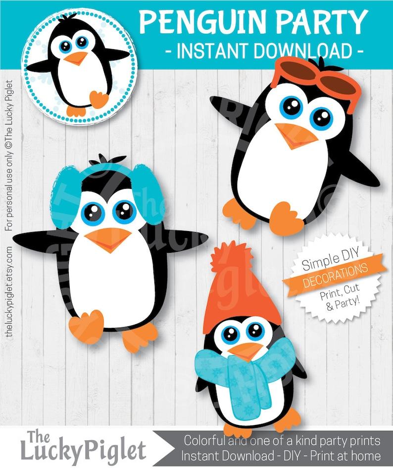 6 tall Instant Download PENGUIN DECORATIONS Penguin Centerpieces Penguin Cut Outs Print and Cut Penguin Party Printables