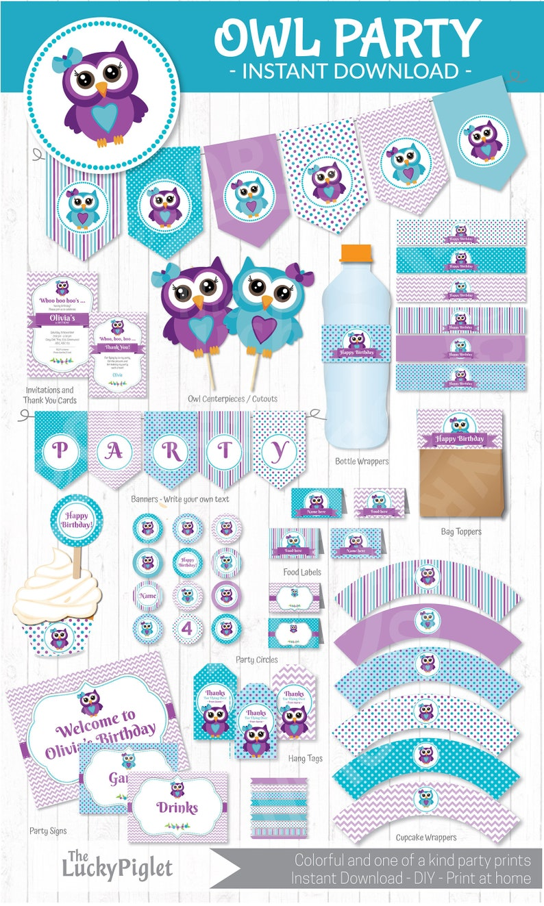 OWL BIRTHDAY INVITATION And Party Decoration Full Printable