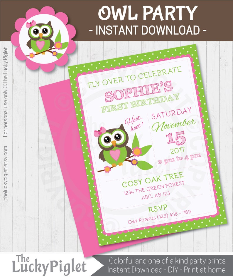 OWL BIRTHDAY Owl Birthday Invitation Cute