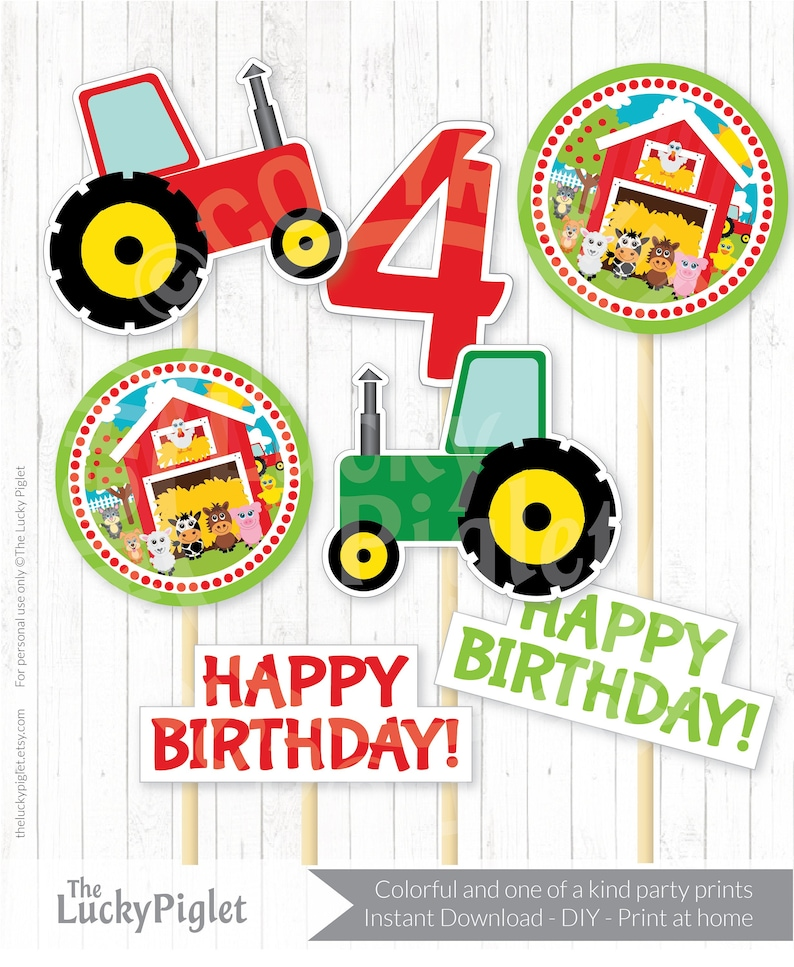 Decorations for Farm Birthday Party or Baby Shower Instant Download FARM PARTY CENTERPIECES Barnyard Party Cutouts 4 inches