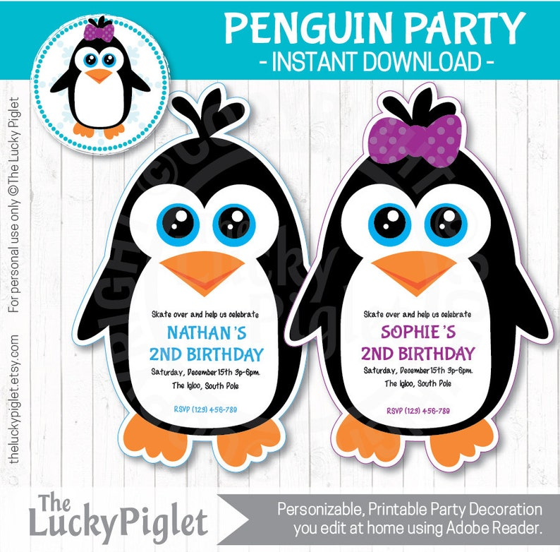 Penguin Birthday Invitation Penguin Invitation Penguin Party Etsy