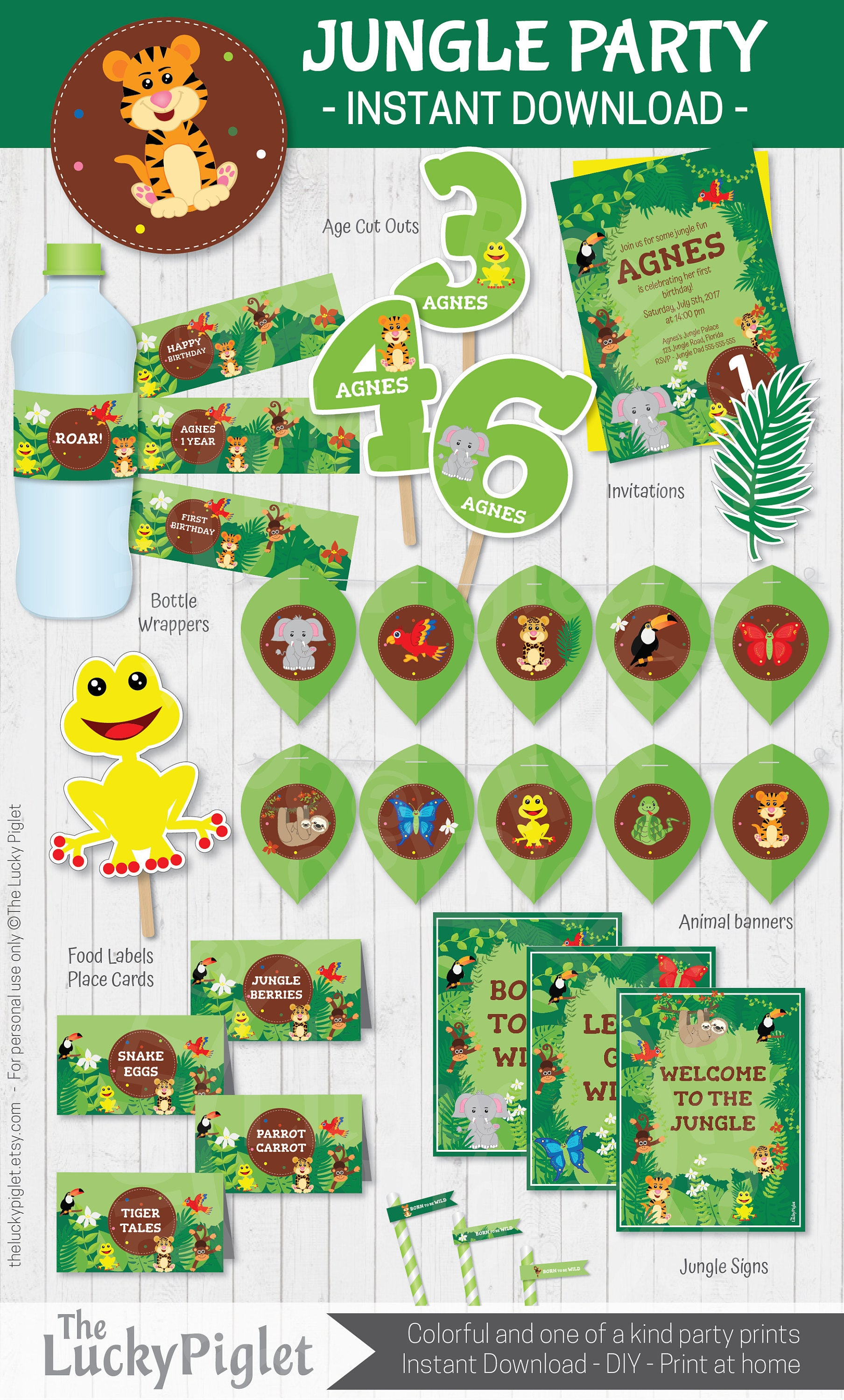 Jungle Birthday Invitation And Jungle Party Decoration Jungle Birthday Party Package Instant Download Edit Text In Adobe Reader