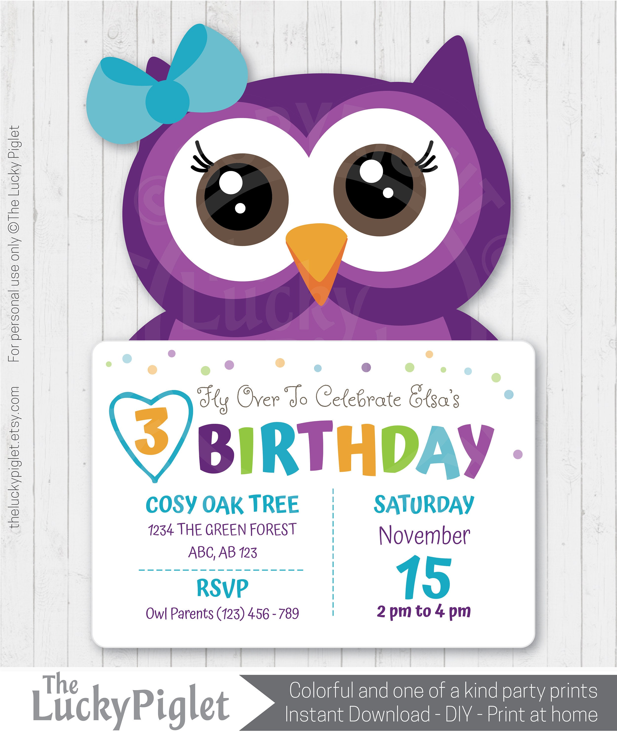 Owl Invitation Purple And Teal Owl Invite Printable Etsy