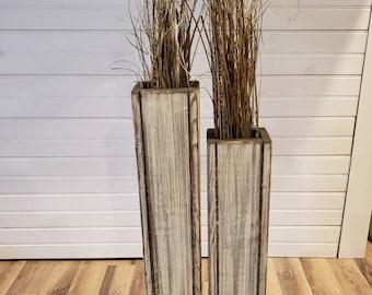 "Set-24"" and 18"" Rustic Floor Vases/Wooden Vases/Home Decor/Decorative Vase/Distressed Wood Vase/Wedding Decor"