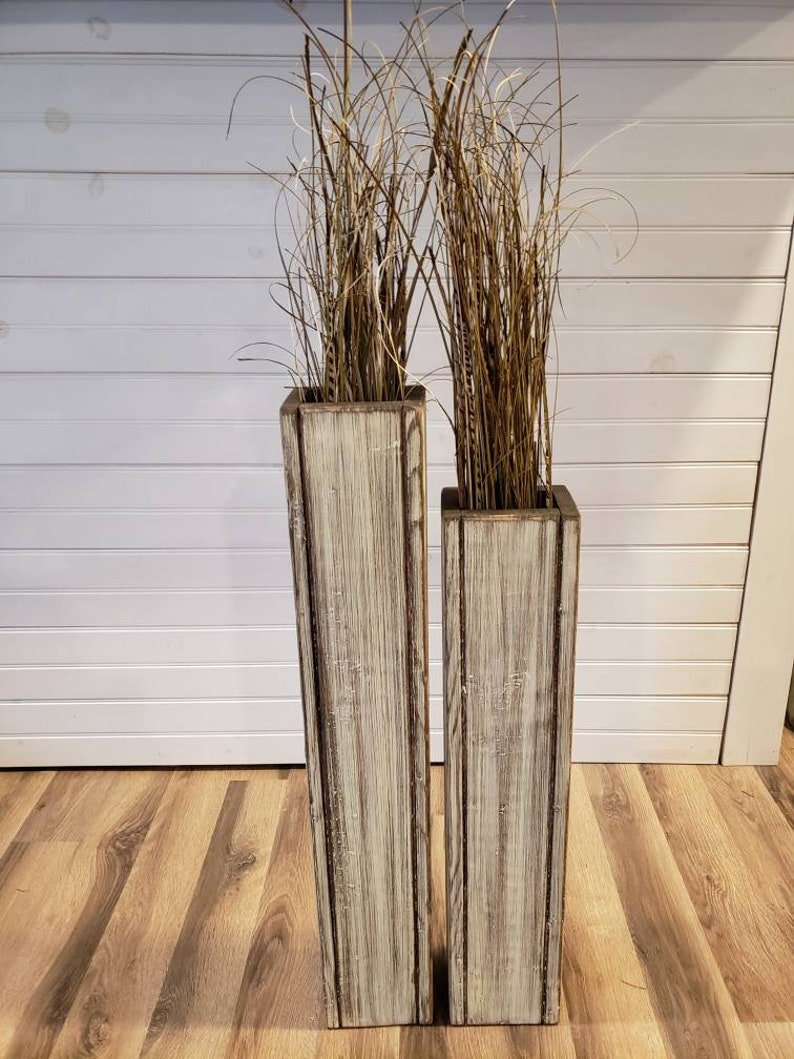 Set 24 And 18 Rustic Floor Vases Wooden Vases Home Etsy