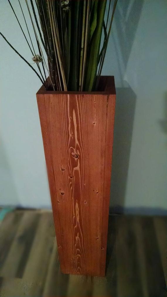 Wide Single Tall Rustic Wood Floor Vase Home Decor Etsy