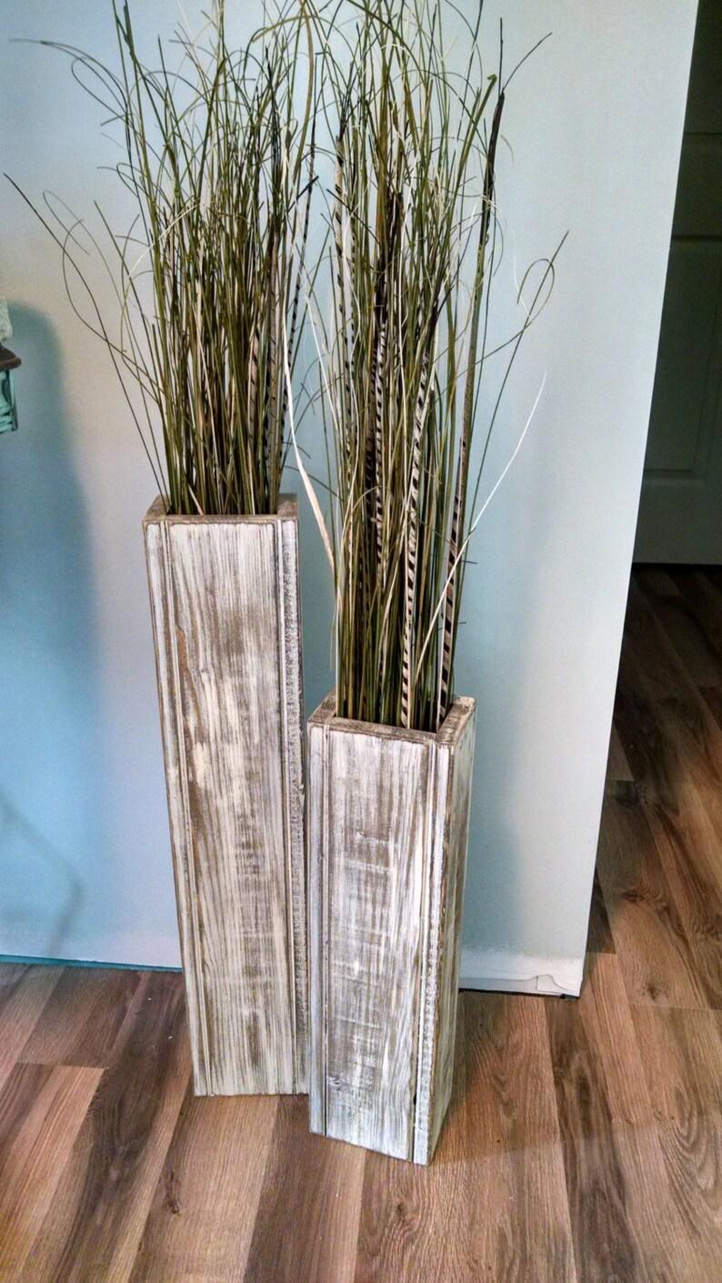 Set-24 and 18 Rustic Floor Vases Wooden Vases image 0