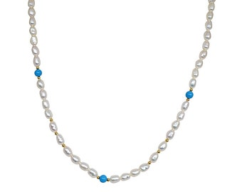 Single Line Pearl Necklace with Blue Turquoise and Gold Plated Beads SN50 Stackable Necklace Elan Layering