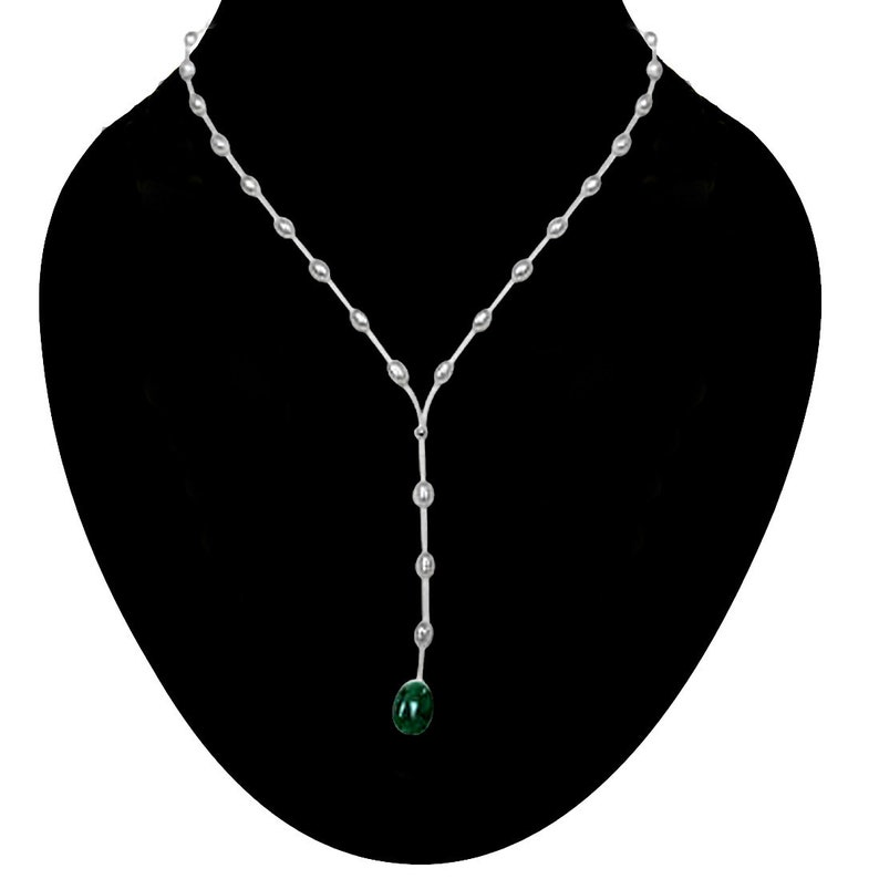 SN222 Untouched Beauty Real Rice Pearl and Oval Emerald Wire Style Necklace for Women