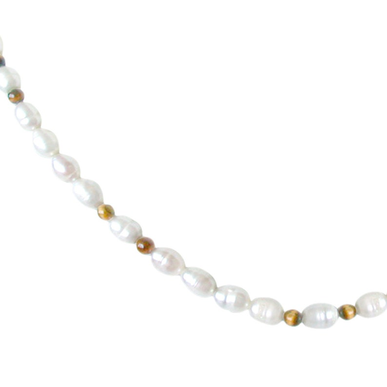 Stackable Necklace SN46 Dazzle Layering Single line Real Rice Pearl and Round Tiger Eye Beads Necklace