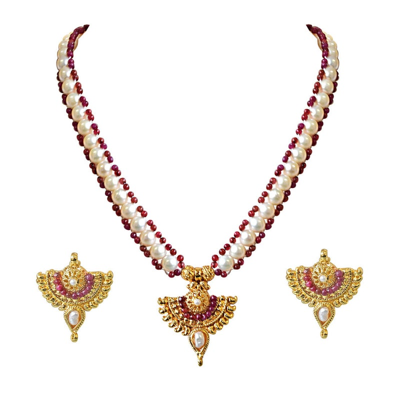 Red Ruby beads and  Gold Plated Pendant Necklace and Earring Set for Women SN751 Real Freshwater Pearl