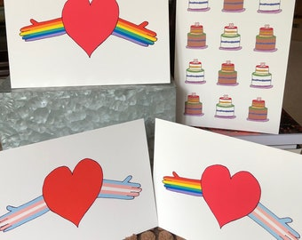 LGBTQ+ Pride Heart Hugs and Pride Cakes Cards