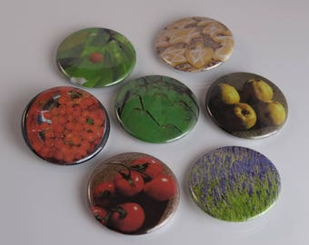 Food Themed Magnets and Buttons: Lavender, Tomatoes, Quince, Cherries, Artichoke, Hanukah Cookies