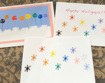 Happy Holigays! Rainbow snowflake and palm trees cards