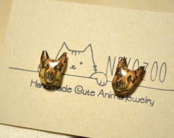 German Shepherd Dog earrings handmade Tiny jewelry with linen cotton bag