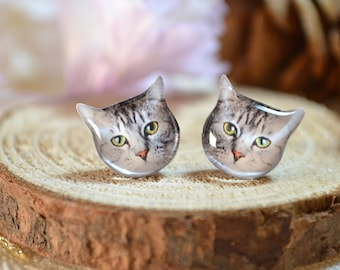 Tabby cat earrings, tiny jewelry, handmade items, Unique Gift with linen cotton bag