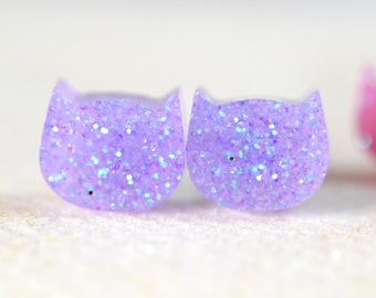 Light Purple Glitter Cat earrings, Resin earrings , Surgical Steel Nickel Free Earrings