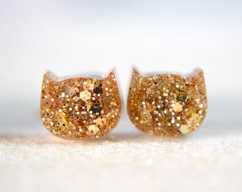 Gold Glitter Cat earrings, Resin earrings , Surgical Steel Nickel Free Earrings