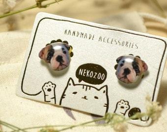 Baby Bulldog earrings handmade Tiny jewelry with linen cotton bag