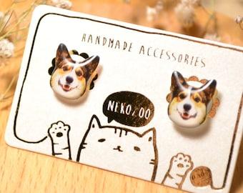 Brown Corgi Dog earrings handmade Tiny Jewelry with linen cotton bag
