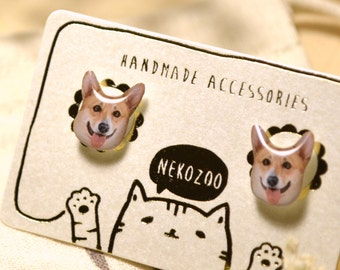 Corgi Dog earrings handmade Tiny Jewelry with linen cotton bag
