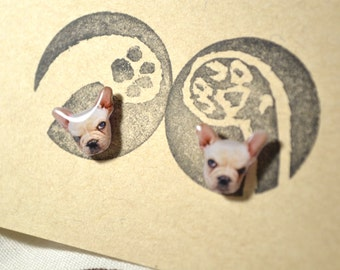 Baby French Bull Dog earrings handmade Tiny jewelry with linen cotton bag