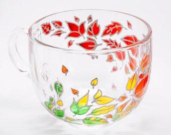 Personalized fall mug. Large coffee mug with hand painted autumn leaves. Unique coffee mugs, fall wedding gift. Glass sweater weather mug