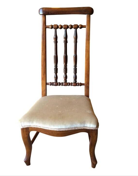 Beautiful Antique Century Furniture Dining Room Table And: Beautiful Antique 19th Century Upholstered Prayer Chair