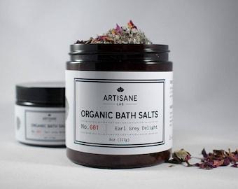 Organic Earl Grey Bath Salts - Early Grey, Rose, Lavender,  Dead Sea Salt, Bath, Valentine's Day Gift, Herbal bath salts, vegan skincare