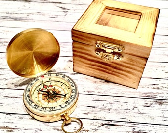 Engraved Compass, personalized  compass. Boxed compass - Groom Gift - compass, keepsake box. Keepsake compass, rustic compass, military gift