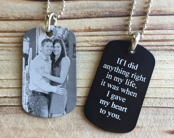 Picture Dog Tag – Photo Engraved Dog Tag – Personalized Dog Tag - Boyfriend Gift - Photo Key Chain- Groom Gift - Husband Anniversary Gift -