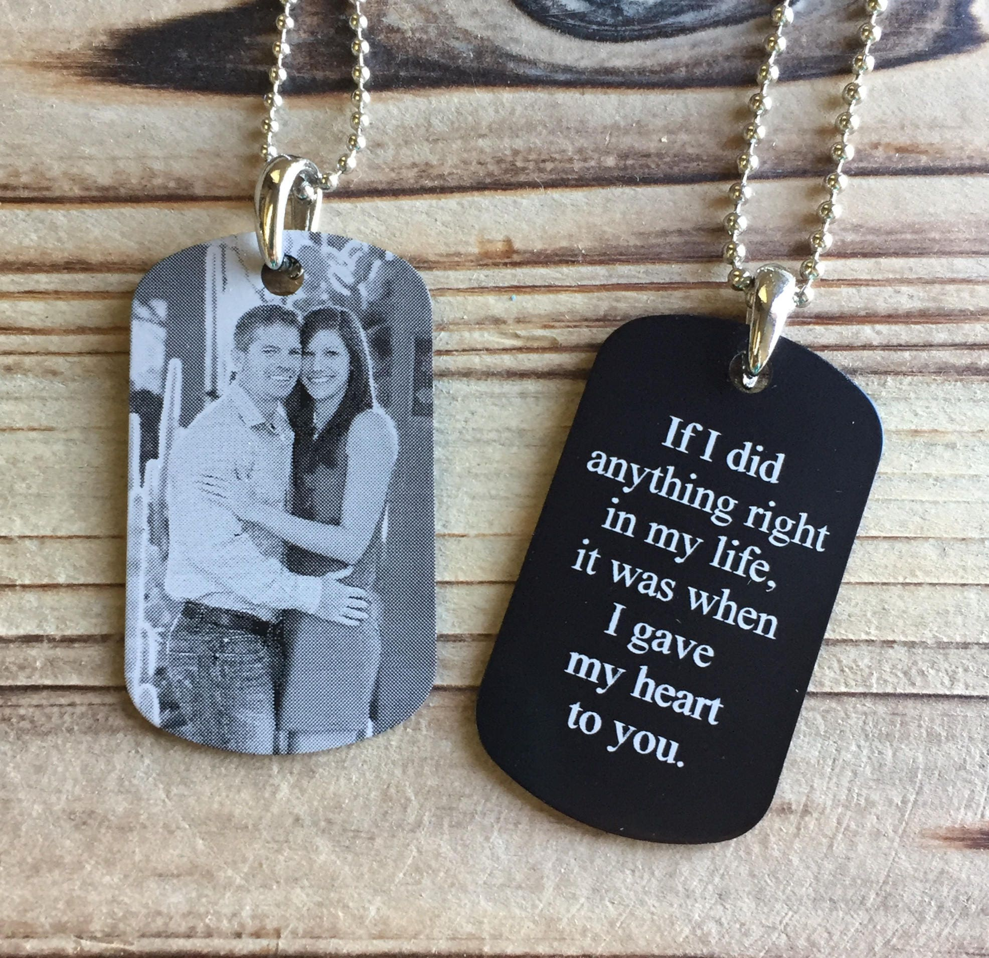 Picture Dog Tag Photo Engraved Dog Tag Personalized Dog Tag Deployment Gift Photo Key Chain Groom Gift Husband Gift Boyfriend