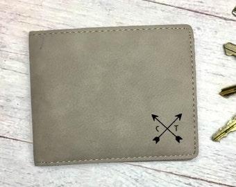 Personalized Men's Wallet – Men's Leatherette Wallet – Custom Leatherette Wallet - Monogrammed Wallet - Engraved Leatherette Wallet