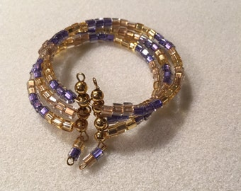 "Cuff, Memory-Wire, ""Colors of Royals"" bracelet"