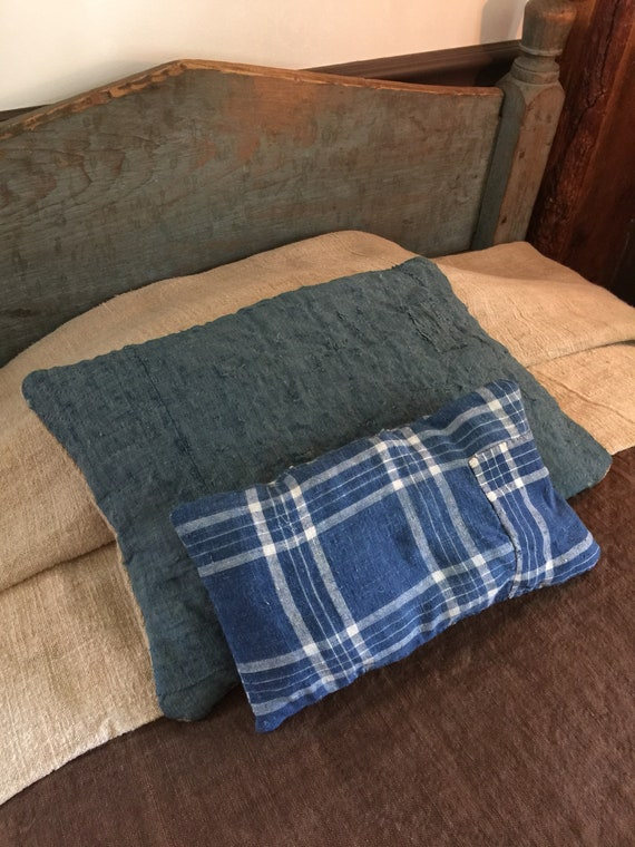 Antique Blue Homespun Pillow