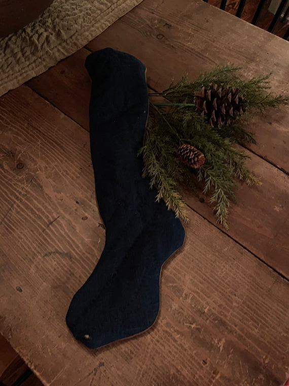 Antique Indigo Linsey Woolsey Stocking