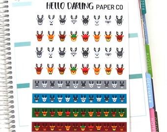 Cute Deer Stickers, Reindeer Sticker, Christmas Stickers, December Sticker, Planner Stickers, Erin Condren, Happy Planner, EC, 434