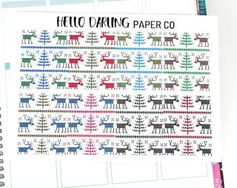 Reindeer Planner Stickers, Christmas Stickers, ECLP Stickers, Horizontal Stickers, Erin Condren, Life Planner, EC Full Box Stickers, F011