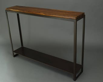 Zebra Wood And Steel Console Table