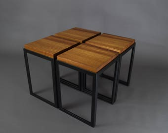 Zebra Wood And Steel Coffee Tables