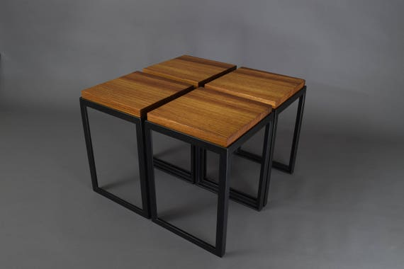Zebra Wood And Steel Coffee Tables Etsy