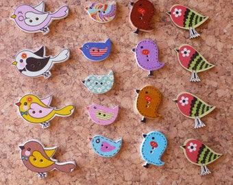 Wooden Bird Buttons Assortment FREE SHIPPING