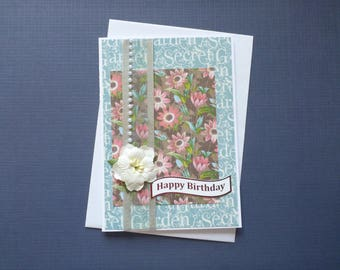 Floral Birthday Card  FREE SHIPPING