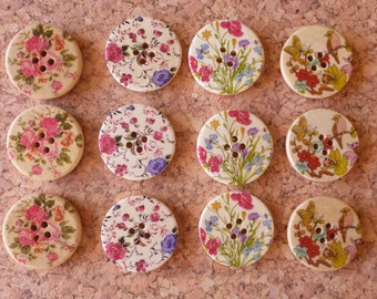 Wooden Floral Buttons Assortment FREE SHIPPING