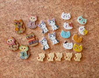 Wooden Cat Buttons Assortment FREE SHIPPING