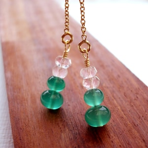 Gold Filled Watermelon Tourmaline Threader Earrings Chain Genuine Real AAA Gemstone Stack Pink Green Orange Summer Jewelry Wire Wrapped