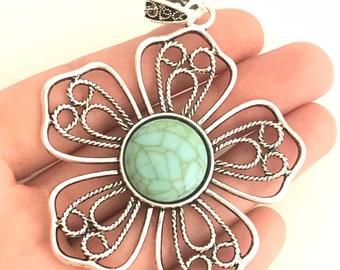 2 Flower pendants blue green antique silver tone F124